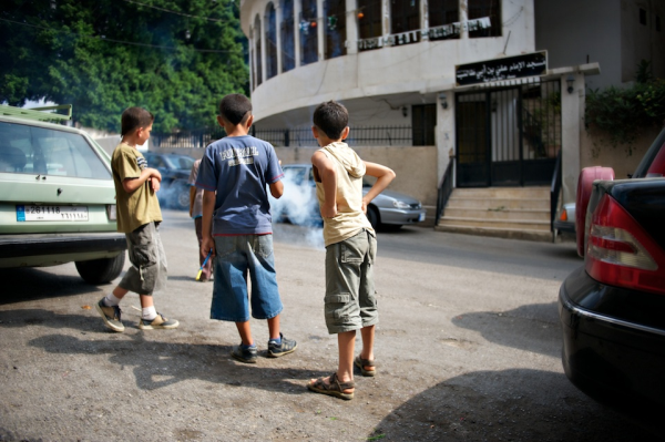 Iraqi boys playing in the streets of Beirut